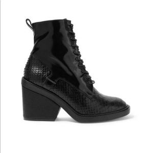 Robert Clergerie snake effect/patent leather boots